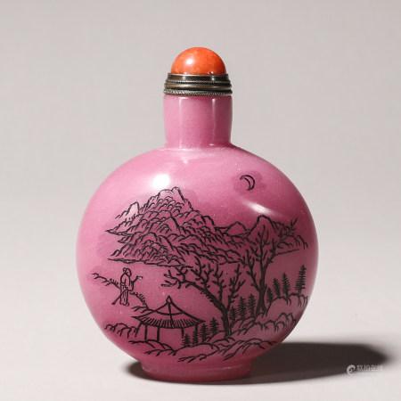 A landscape inscribed glass snuff bottle