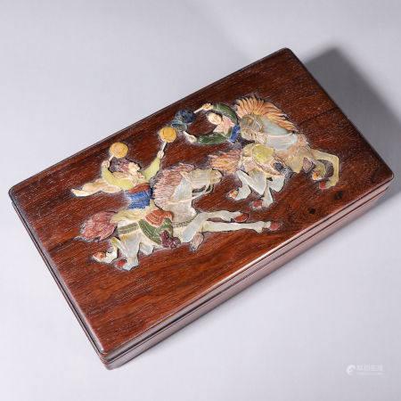 A gem-inlaid fragrant rosewood figure box