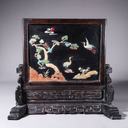 A crane patterned red sandalwood screen