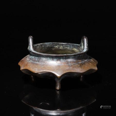 A lotus shaped copper censer
