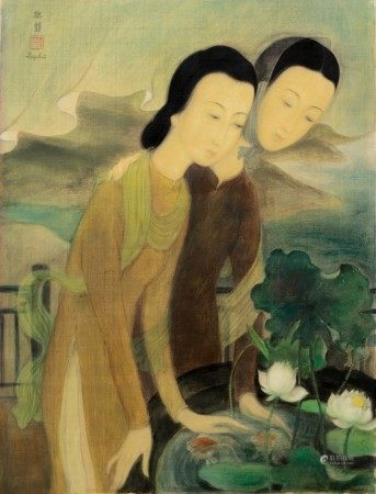 Le Pho 黎譜 | Two Women Overlooking a Goldish Pond 俯瞰金魚池的兩位女子