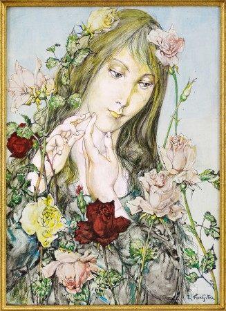 Léonard Tsuguharu Foujita 藤田嗣治 | Jeune fille aux fleurs 薔薇少女