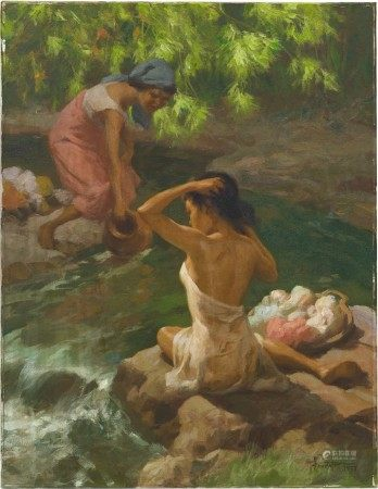 Fernando Cueto Amorsolo 阿莫索羅 | By the Stream 泉間沐浴