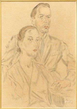 Léonard Tsuguharu Foujita 藤田嗣治 | Portrait d'Albert Lunt et Lynn Fontane 阿爾伯特·蘭德,琳恩·芳婷肖像