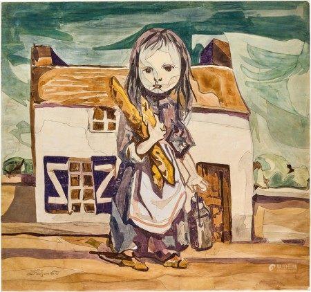 Léonard Tsuguharu Foujita and the Workshop of French Historical Aubusson Enterprise of Tapestry 藤田嗣治及法國古奧比森掛毯工作室 | Merchand de lait (carton de tapisserie) 小牛奶商(掛毯畫稿)