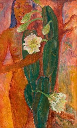 Theo Meier 西奧·邁爾 | Woman with two white flowers 拿著白花束的女子