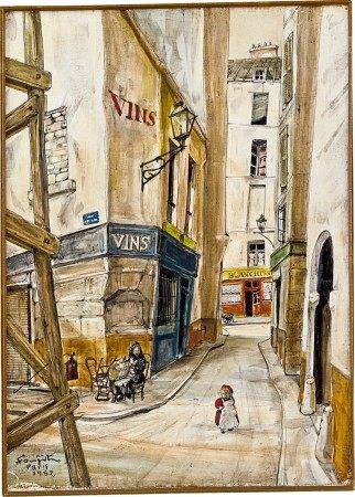 Léonard Tsuguharu Foujita 藤田嗣治 | Rue à Paris 巴黎街景