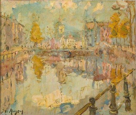 Adrien Jean Le Mayeur de Merprès 勒邁耶 | View at a Canal 運河的景色