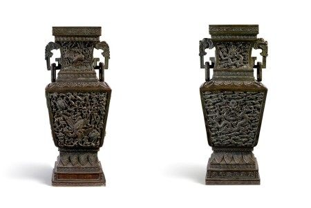 An important and very rare pair of imperial bronze 'dragon and phoenix' vases Mark and period of Qianlong | 清乾隆 御製龍鳳呈祥雙活環耳銅方壺一對 《大清乾隆年造》款