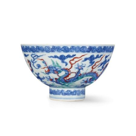 An extremely rare doucai and anhua-decorated 'dragon' bowl Mark and period of Zhengde | 明正德 鬪彩內暗花外雲龍紋盌 《正德年製》款
