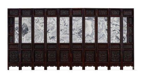 A rare imperial zitan marble-mounted ten-leaf screen Qing dynasty, Qianlong period | 清乾隆 紫檀嵌大理石福壽八吉祥清供圖十扇圍屏