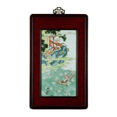 A famille-rose 'immortal on raft' plaque Qing dynasty, Qianlong period | 清乾隆 粉彩仙人乘槎掛屏