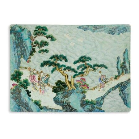 A famille-rose 'immortals' plaque Qing dynasty, 18th century | 清十八世紀 粉彩仙女賀壽瓷板