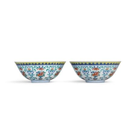 A fine and rare pair of doucai 'floral' bowls Seal marks and period of Daoguang | 清道光 鬪彩折枝花卉紋盌一對 《大清道光年製》款