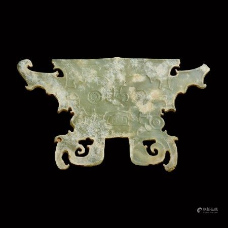 A celadon jade ancestor mask Neolithic period, Shijiahe culture | 新石器時代 石家河文化玉面人頭像