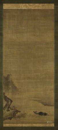 A scroll painting with ox motif Attributed to Yujian, Southern Song dynasty | 南宋 傳玉澗《牧牛圖》軸 水墨絹本