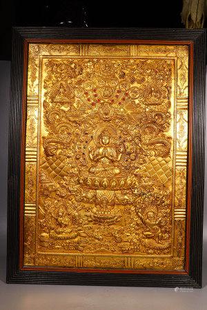 A GILDED BRONZE TANGKA TIBETAN BUDDHIST PAINTING