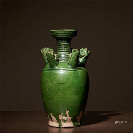 Tang dynasty green glaze tray mouth six-tube bottle