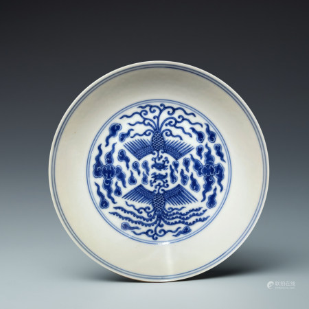 Qing Tongzhi group phoenix pattern blue and white plate