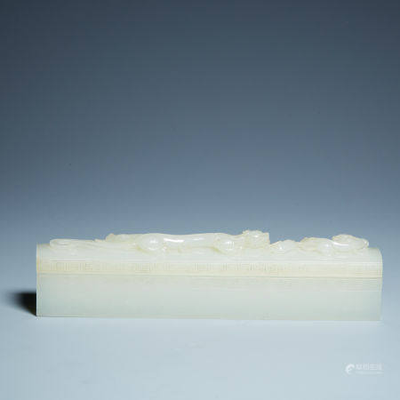 Qing hetian white jade dragon cover box