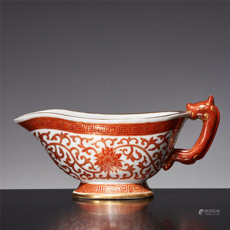 Qing Dynasty red color leopard ear twig pattern wine vessel