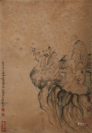 A mountain calligraphy and painting by Shi Tao