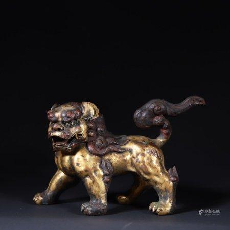 清 铜鎏金狮子摆件