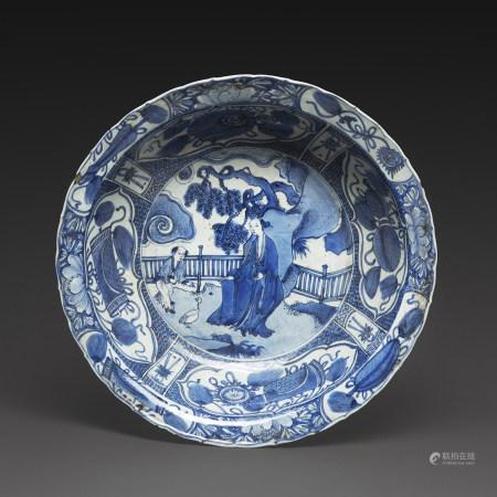 BASSINen porcelaine bleu-blanc de type Kraak