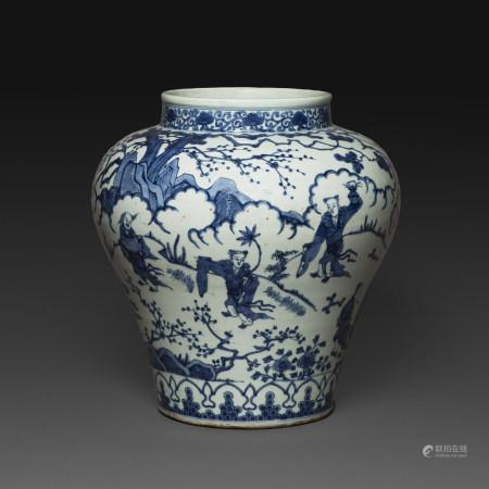 GRANDE JARRE de forme balustre en porcelaine bleu-blanc
