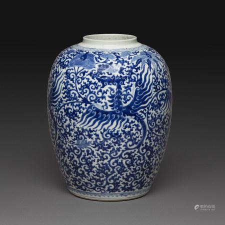 JARRE en porcelaine bleu-blanc