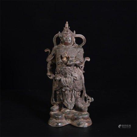 明 铜泥金韦陀像