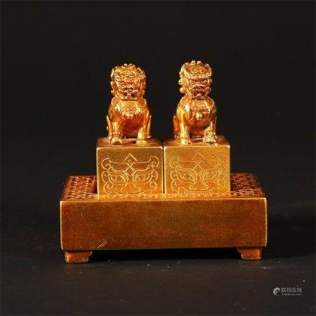 清 铜鎏金兽钮印章一组