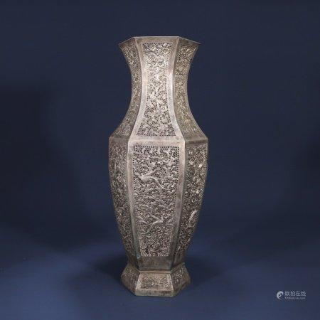 19世纪 铜鎏银镂空花鸟纹瓶
