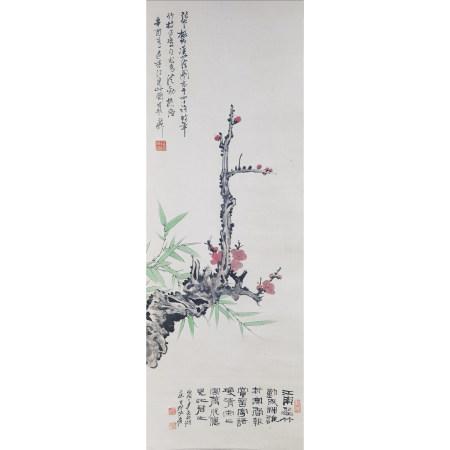 张大千 花卉纸本立轴