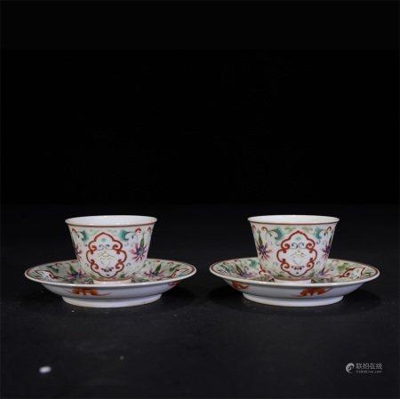 清 粉彩花卉寿字纹茶盏(一对)