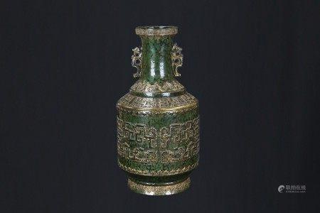 綠釉描金博古龍紋瓶