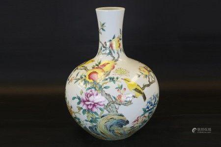 粉彩花鳥紋天球瓶