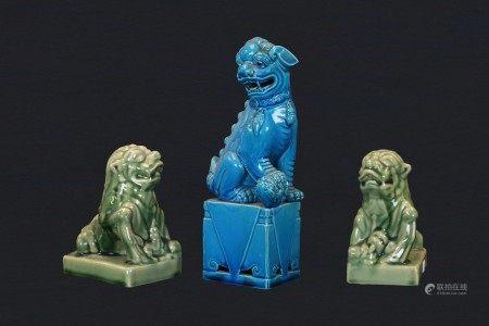 瓷 獅子三隻