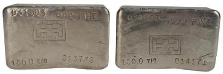 200 troy oz. Pure Silver, consisting of two 100 troy ounce bars, marked 999 fine, Handy Harman silver.