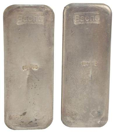 200 troy oz. Pure Silver, consisting of two 100 troy ounce bars, marked Bache.