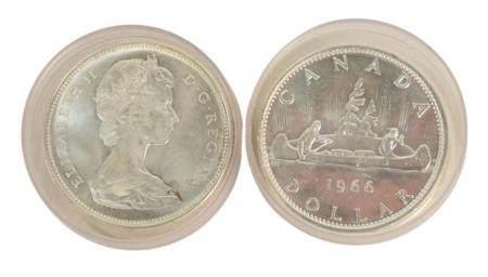 39 Elizabeth II Silver Dollars, 1965, 1966, 1967.