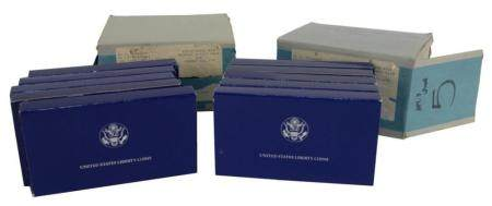 Ten United States Silver Liberty Dollar and Half Dollar Mint Sets, 1986.