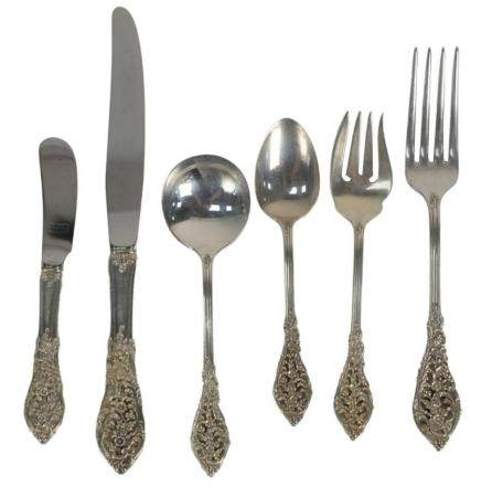 Reed and Barton Sterling Silver Flatware Set, seventy three piece setting for twelve to include 12 dinner forks; 11 salad forks; 12 ...