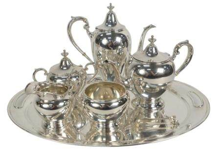 Six Piece Sterling Silver Gorham Tea and Coffee Set in Puritan pattern, with tray, tray 20 inches, 100 t.oz.