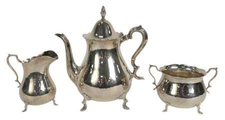 Three-Piece Sterling Silver Tea Set, hand hammered, teapot 9 inches, 50.9 t.oz.