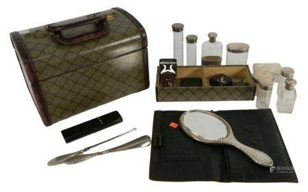 Travelling Vanity Set having sterling silver top bottles, mirror, inkwell, lighter, etc. in fitted box, height 9 inches, length 13 i...