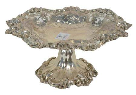 Howard and Company Sterling Silver Tazza with pierce work border, height 4 3/4 inches, diameter 10 1/4 inches, 22.7 t.oz.