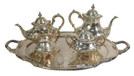 Reed and Barton Sterling Silver Four Piece Tea Set with silver plated tray, teapot, coffee pot, sugar, and creamer, 74.2 t.oz.