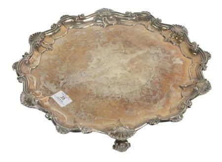 English Silver Salver on three scrolled feet, diameter 16 inches, 55.7 t.oz.