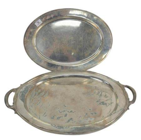 Two Large Sterling Silver Oval Trays to include Gorham with knife cuts, length 20 inches, along with a two handled tray, length 25 i...